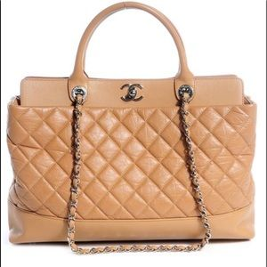 Auth Chanel Cruise Camel Quilted Be CC Shopper Bag